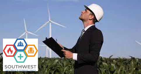 Worker looking at a wind turbine