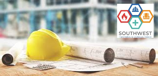 Hard hats and construction drawings on a table