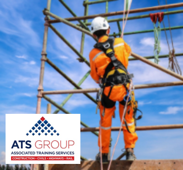 Construction worker climbing scaffold wearing a harness