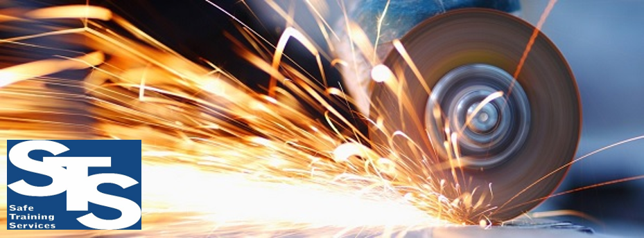 Grinder cutting metal with sparks flying